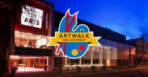 ArtWalk logo in front of Acadiana Center for the Arts