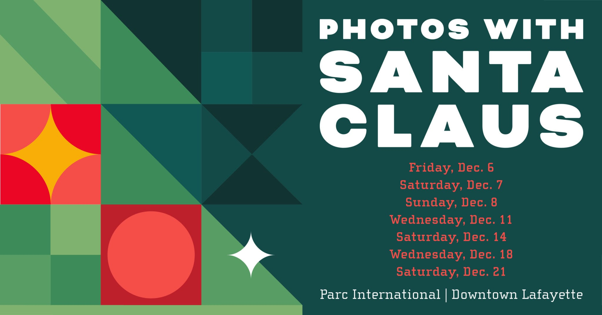 Photos with Santa event flyer with dates listed