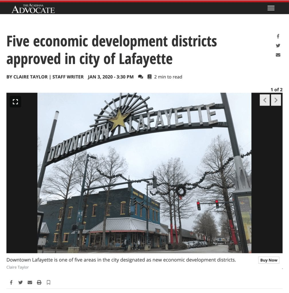 Screenshot of news article about the passage of five new economic development districts in Lafayette