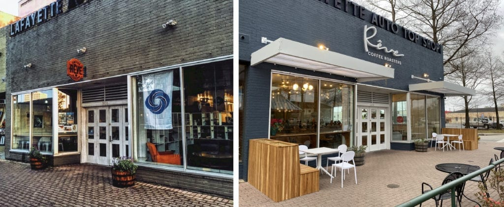 Before and after image of Reve coffeshop transition from grungy bricks to fresh paint with new signs and outdoor seating